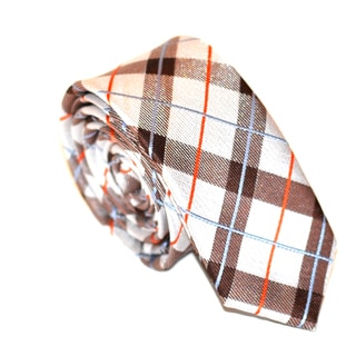 Skinny Tie Madness Men's White/ Brown Plaid Skinny Tie