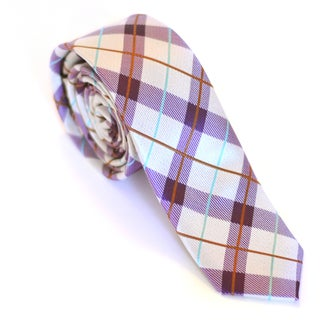 Skinny Tie Madness Men's White/ Purple Plaid Skinny Tie