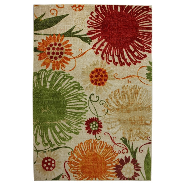 Flower Shower Multi-colored Area Rug
