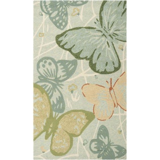 Hand-hooked 'Abbeville' Indoor/Outdoor Butterflies Rug