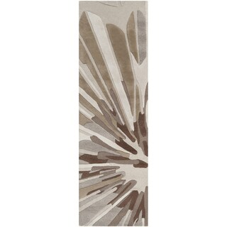 Candice Olson Hand-tufted 'Richmond' Gray Floral Wool Rug (2'6 x 8')
