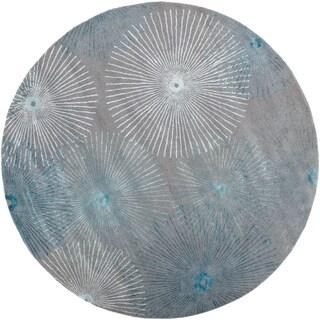 Hand-tufted 'Moonan' Gray/ Blue Wool/ Viscose Rug (8' Round)