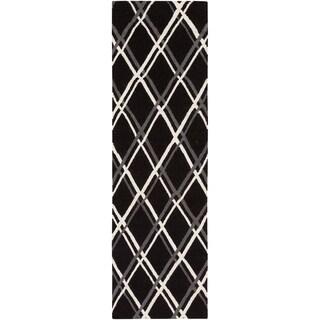 Hand-woven 'Loma' Black Wool Rug (2'6 x 8')