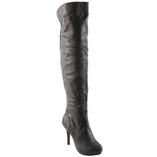 Refresh Women's 'Lana-04' Grey Over-the-knee Boots