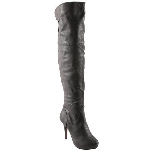 Refresh Women's 'Lana-04' Grey Over-the-knee Boots