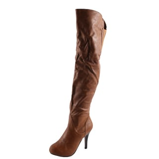 Refresh Women's 'Lana-04' Tan Over-the-knee Boots