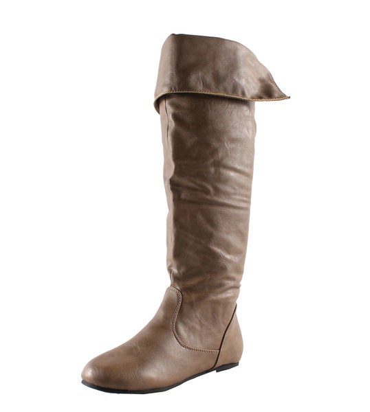 Refresh by Beston Women's 'Naomi-02' Taupe Slouchy Boots