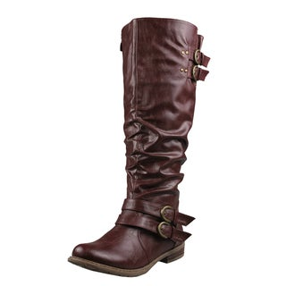 Refresh by Beston Women's 'Bailey-03' Wine Riding Boots