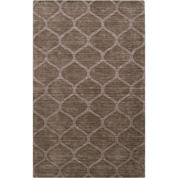 Hand-crafted Solid Brown Lattice 'Brandt' Wool Rug