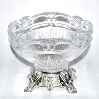 Threestar Clear Crystal/ Silvertone Footed Round Serving Bowl (7.5 x 9 inches)