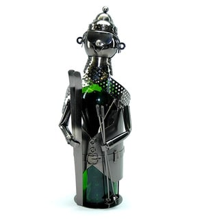 Wine Caddy Skier Metal Wine Bottle Holder