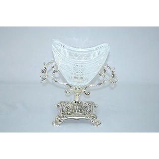 Threestar Crystal / Silvertone Oval Serving Bowl