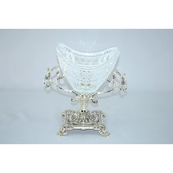 Threestar Crystal / Silvertone Oval Serving Bowl