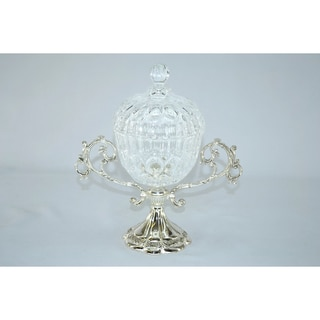 Threestar Crystal Silver Base Candy Bowl
