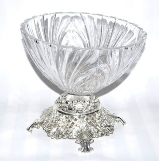 Threestar Clear Crystal/ Silvertone Footed Round Serving Bowl (9 x 9.5 inches)