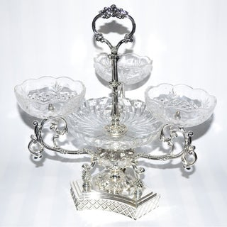 Threestar Clear Crystal/Silvertone 4-sectioned Serving Centerpiece