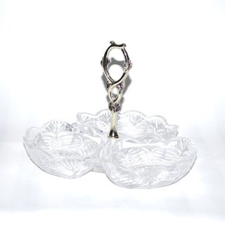 Threestar Clear Crystal/ Silvertone 3-sectioned Dish (6 x 8 inches)