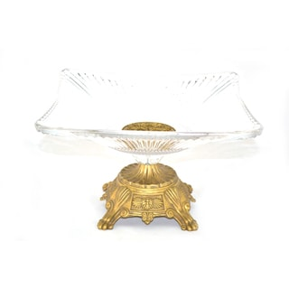 Threestar Clear Crystal/ Goldtone 7x11-inch Square Serving Dish