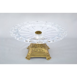 Crystal Clear Flat Cake Dish with Gold Base