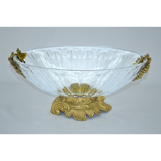 Threestar Clear Crystal with Gold Base Oval Serving Dish