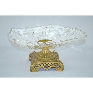 Threestar Crystal Clear Oval Serving Dish with Gold Base