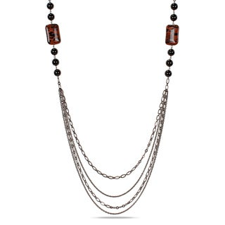 M by Miadora Goldtone Sand Stone and Onyx Bead Necklace