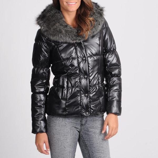 Nuage Women's Black Metallic Puffer Jacket