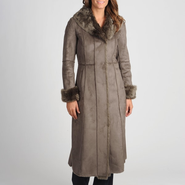 Nuage Women's Taupe Faux Shearing Coat with Faux Fur Trim