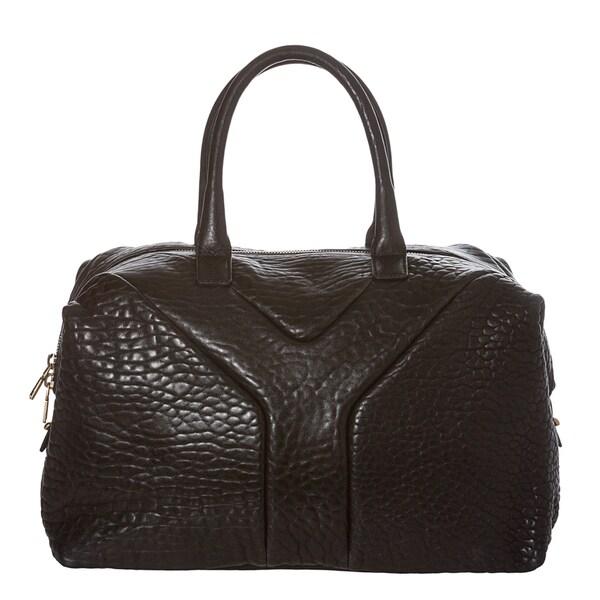 Yves Saint Laurent Black Pebbled Leather Satchel Bag
