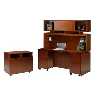 Mayline Stella Series Toffee Veneer Workstation