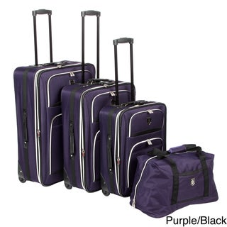 Adolfo 0089-5 Venice 4-piece Luggage Set with Garment Sleeve