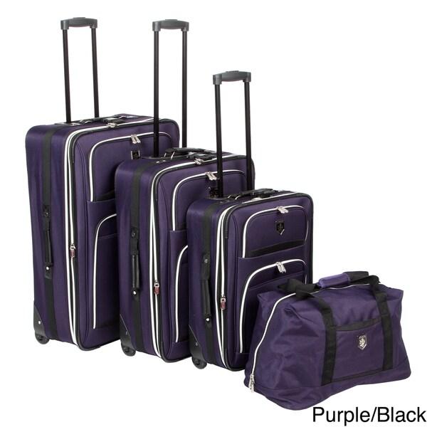 Adolfo 0089-5 Venice 4-piece Luggage Set with Garment Sleeve