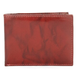 YL Fashion Men's Red Leather Bi-fold Wallet