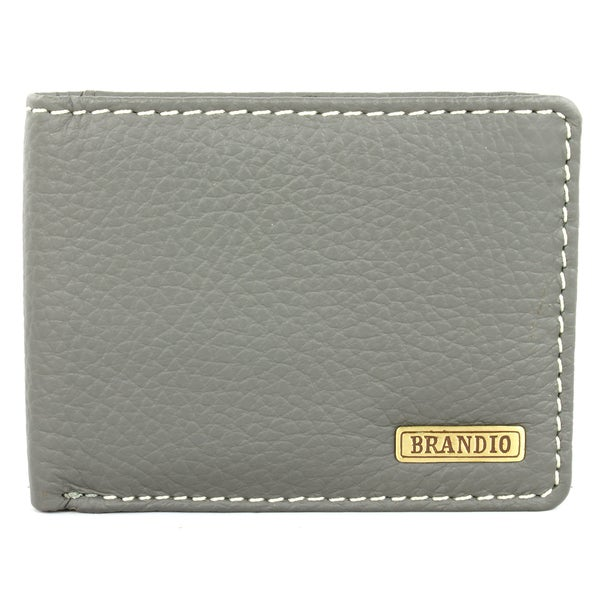 Brandio Fashion Men's Grey Leather Bi-fold Wallet
