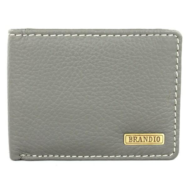 Brandio Fashion Men's Grey Leather Bi-fold Wallet