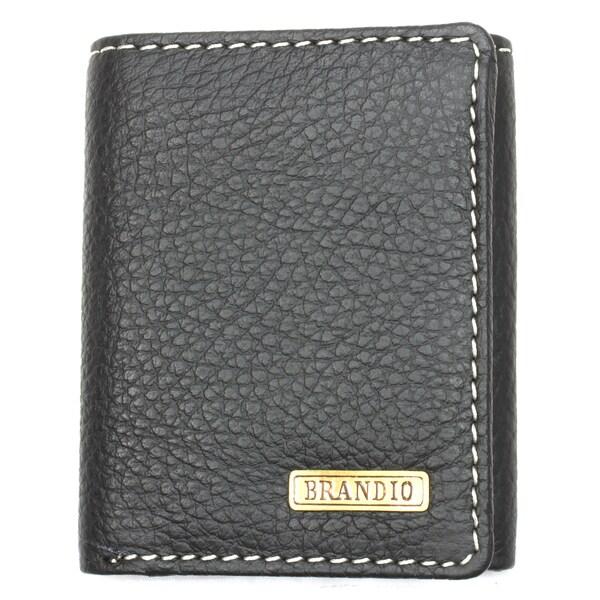 Brandio Men's Black Leather Tri-fold Wallet