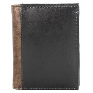 YL Fashion Men's Black Leather Bi-fold Wallet