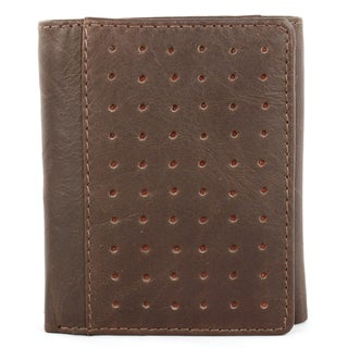 Brandio Fashion Men's Brown Punched Leather Tri-fold Wallet