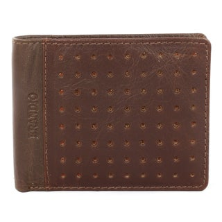 Brandio Men's Brown Punched Leather Bi-fold Wallet