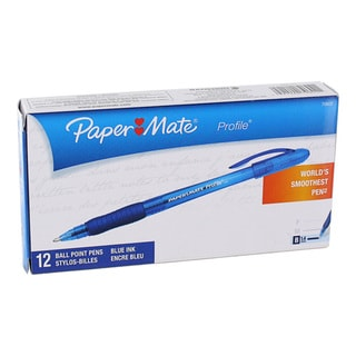Paper Mate Profile Blue Ink Ballpoint Pens (Pack of 12)