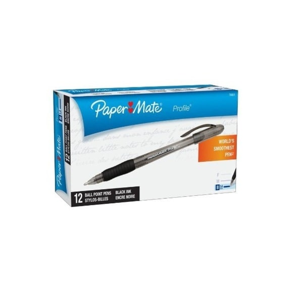 Paper Mate Profile Black Ink Ballpoint Pens (Pack of 12)