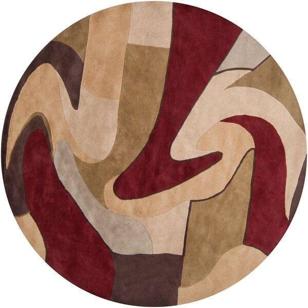 Hand-tufted 'Kalamazoo' Burgundy/ Beige Wool Rug