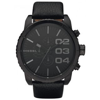 Diesel Men's DZ4216 'XXL' Black Leather Stainless Steel Watch