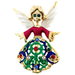 Goldtone Multi-colored Crystal Christmas Angel Brooch