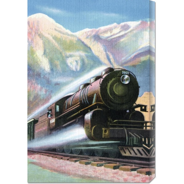 Retro Travel 'Steaming Full Speed Ahead' Stretched Canvas Art