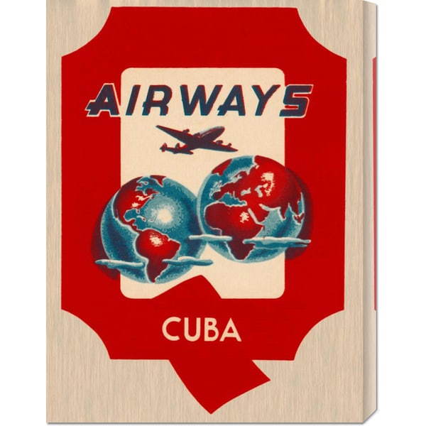 Retro Travel 'Q Airways Cuba' Stretched Canvas Art