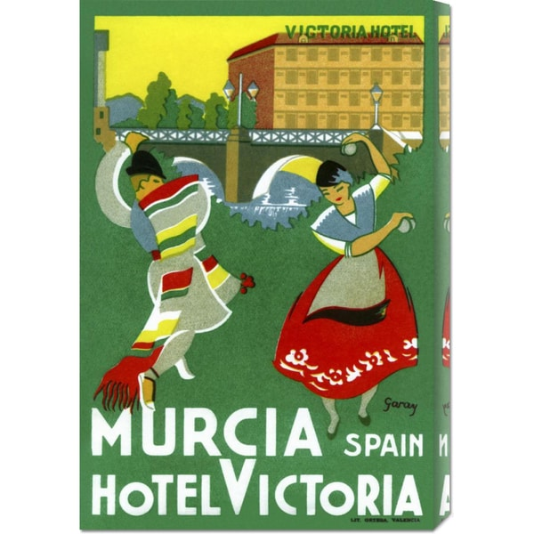 Retro Travel 'Murcia Hotel - Valencia Spain' Stretched Canvas Art