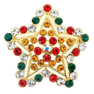 Goldtone Multi-colored Crystal Christmas Star Brooch
