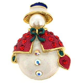 Goldtone Faux Pearl and Multi-colored Crystal Christmas Snowman Brooch