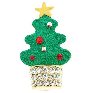Antique-Finish Goldtone Multicolored Crystal Christmas Tree Brooch